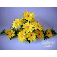 Gėlių padėklas-puokštė su atlasiniais jurginais, geltona sp., G1546PA