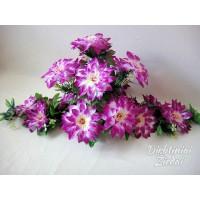 Gėlių padėklas-puokštė su atlasiniais jurginais, violetinė sp., G1546PA