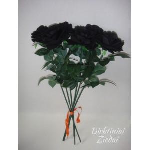 Rožė juoda barchatinė su kotu G1536/G1212