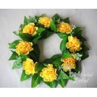 Gėlių vainikas su gvazdikėliais geltona sp., G1652Z