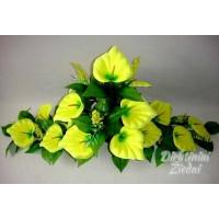Gėlių padėklas-puokštė su kalijomis 16 ž., geltona sp., G1575PA