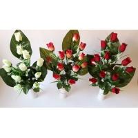 G1237 Rožių puokšt. 7 žied., 44 cm spalvos: ružava, geltona