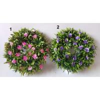 Plastikinių gėlių vainikas G187010